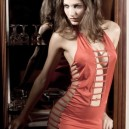 Sexy Charming Hollow-Out Lingerie Dress Braces Skirt + Underpants Set - Tangerine