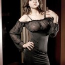 Sexy Charming Long Sleeve Babydoll Dress + Underpants Set - Black